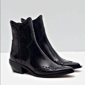 ZARA | Leather Cowboy Boots